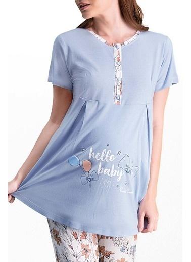 Pierre Cardin Pierre Cardin Mavi Kadın Lohusa Pijama Takımı Mavi